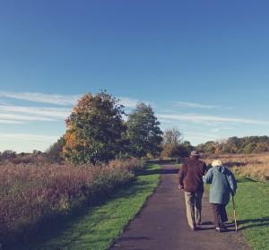 retired couple walking